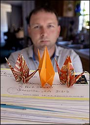 kevin benderman with japanese peace cranes